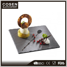 Wholesale LFGB certificate black slate cheese board for restaurant using