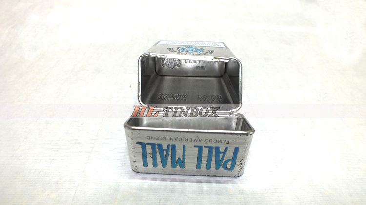 Cigarette Metal Tin Can Tin Box with Hinged Lid