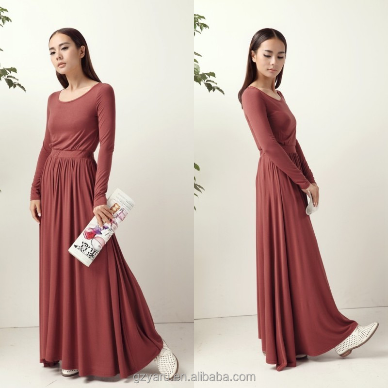2015 Fashion muslim women dresses designs long sleeve maroon jersey cheap maxi dress