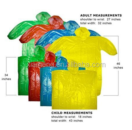 cheap imprinted clear pe kids adult emergency custom promotion disposable rain poncho drawstring hood wholesale with logo sleeve