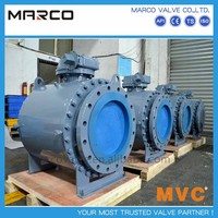 Hot sale handwheel or bevel worm gear operation casted and forged steel fixed trunnion mounted ball valve