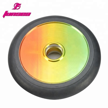 Wholesale 12 spokes aluminum alloy 6061 kick scooter parts skatepark trick scooter fat two wheel 100mm
