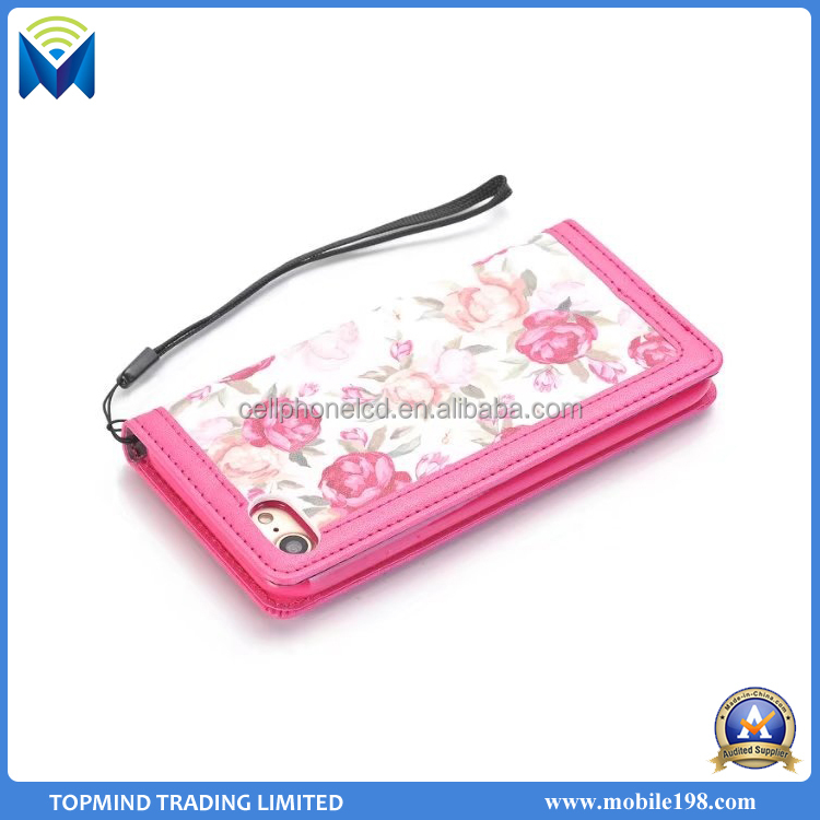 Flower mobile phone wallet case with card slots for iPhone 6S