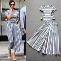 t shirt short sleeve wide leg pants striped pictures of ladies suits designs