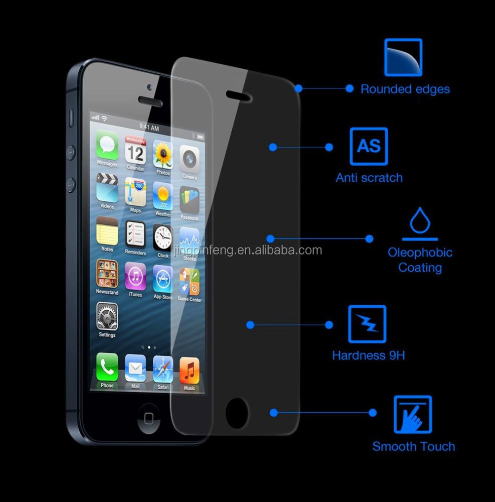 Wholesale mobile phone protective film,pureglass tempered glass screen protector for iphone 5s