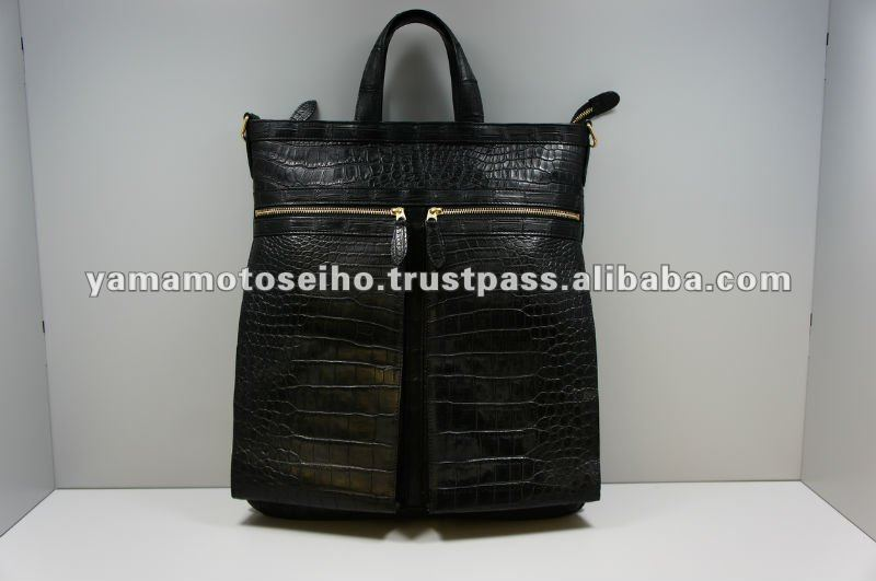 tote bag and rucksack and shoulder bag made of crocodile leather