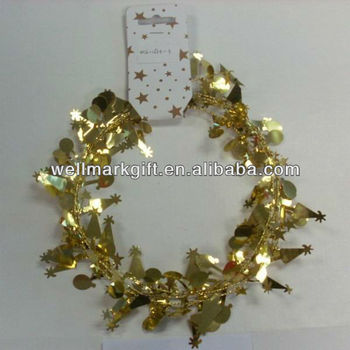 9 Feet Gold Metallic Christmas Tree Wired Tinsel Garlands