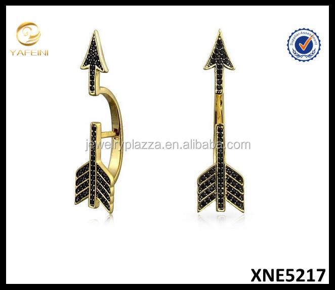 Gold Plated Silver Earrings,Black Spinel Cupids Arrow Ear Jackets ...