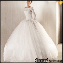 Latest Wedding Gown Designs Lace long sleeve Wedding Gown