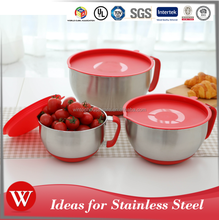 3pcs Stainless steel mixing bowl/ Salad bowl /stainless steel mixing bowl with silicone & handle