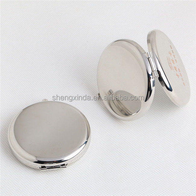 Silver Round Metal Plain Pocket Mirror Promotional Gift Blank Metal Compact Mirror
