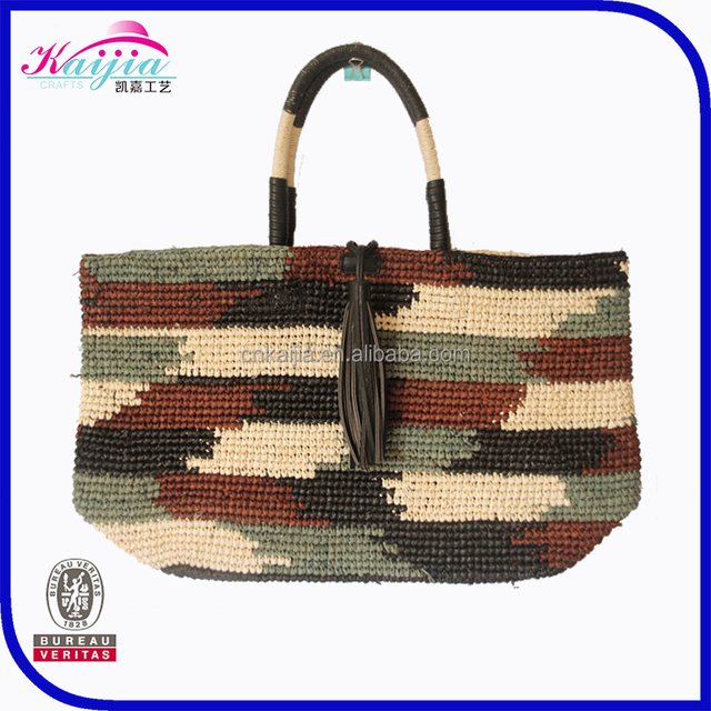 Handmade camouflage patterns straw bag for sale women's shopping bag