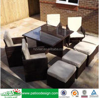 2016 Garden general use PE rattan dining table chair and footstools KD set