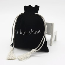 High- quality Gift Jewelry Drawstring Velvet Bag with Logo Tassel