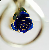 30cm 24K Gold Foil Blue Gold Rose with Real rose inside Packed in beautiful gift box