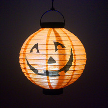 Halloween LED Pumpkin Hanging Paper Lantern Light Spider Bat Skeleton Lamp Holiday Party Decor Scary Light