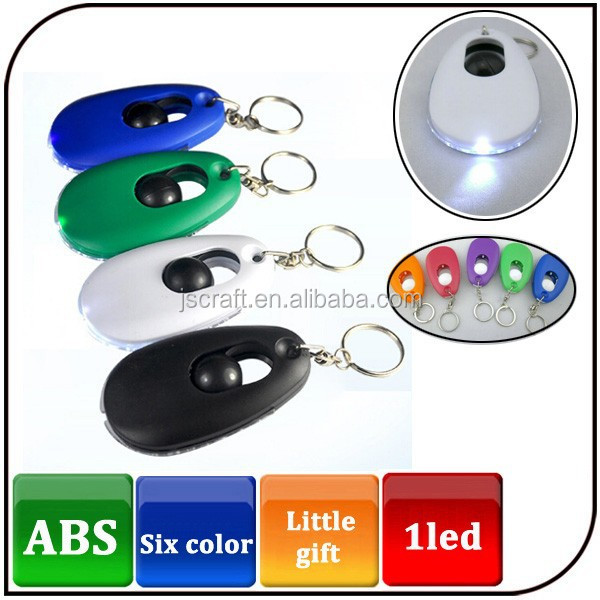 cheapest 5 color ABS promotional keyring torch key chain