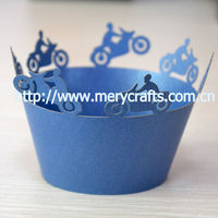 creative design! laser cut sea blue color cupcake wrapper bicycle party supplies