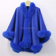 2017 New Fashion Hand Made Wholesale Real Fox Fur Trim Cashmere Shawl For Women