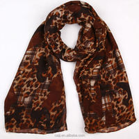 Checked And Leopard Fancy Hijab Sexy Women Scarf