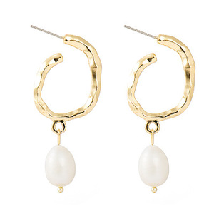 1$ 1 pairs,Over 20 Designs,18k Real Gold Plated Geometric Metal Baroque Pearl Drop Earrings For Girls