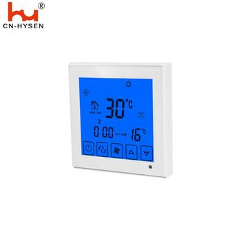 White touch screen digital air conditioning thermostat with blue backlight