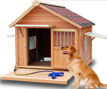 Top Quality Real Solid Waterproof Wooden Dog Kennel Original Color