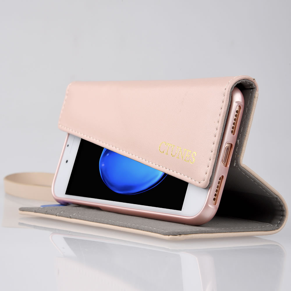 C&T PU Leather Hand Strap Crossbody Girls Purse Cell Phone Case Wallet Folding Cover For iPhone 7 4.7 inch