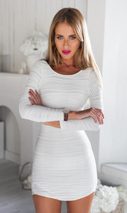 F50165A New American fashion style women summer long sleeve sexy white plain slimmed backless short dress for ladies