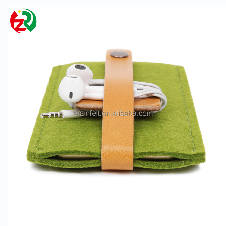 Make to order high quality leather cell phone pouch cheap felt mobile phone case