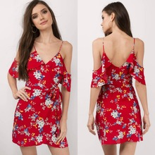 2017 women summer clothing red floral printing summer dress with wrap front hem