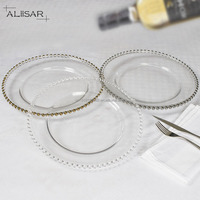 Cheap Wholesale Wedding Gold Silver clear Glass Beaded Charger Plates of 13 inch