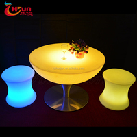 illuminated led coffee table with glass/glass top table in cheap price