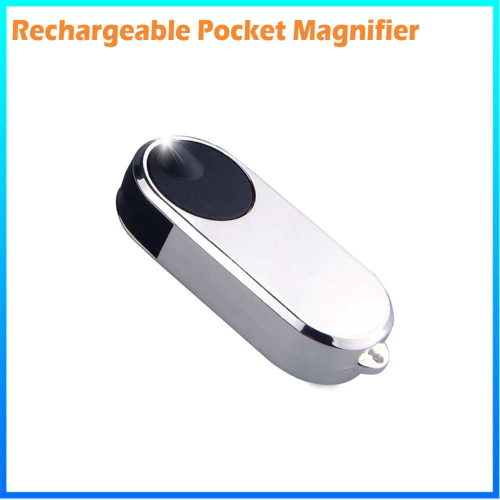 DH-83016 Promotion Folding Key Ring Magnifier , Custom Plastic Pocket Led Light Magnifying Glass Loupe Lens
