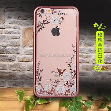 Floveme Flora Diamond Case for Apple iPhone 6 / 6S PLUS for iPhone 5 5s SE Chic Flower Bling Soft TPU Clear Phone Back Cover