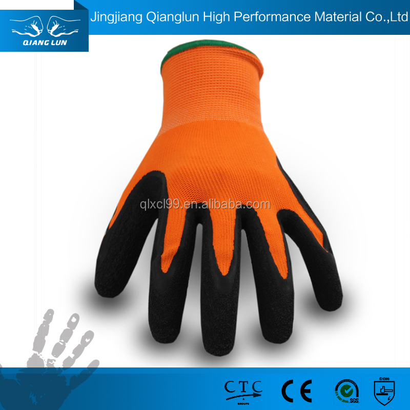 QL 13G polyester inner reduce harm glove latex palm costed