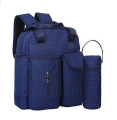 Blue 300D Polyester Diaper Backpack Bag Baby with Bottle Bag