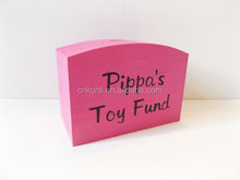 Personalised wooden money box with holiday fund box for kids