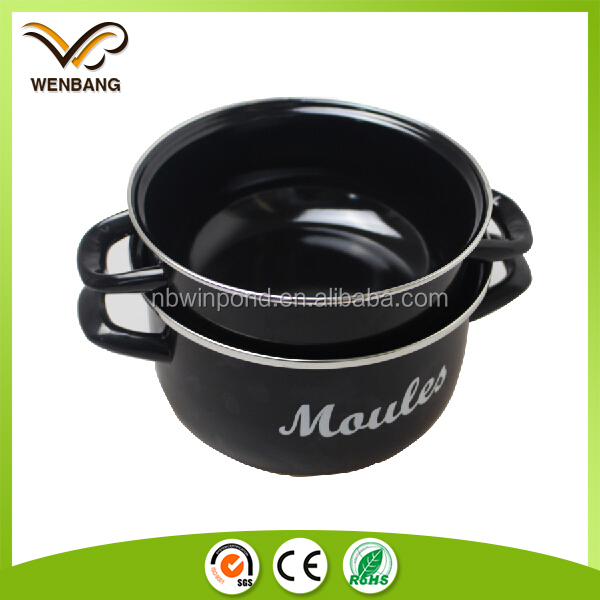 high quality enamel mussel pot, cooking set, 2016 new style sauce pot