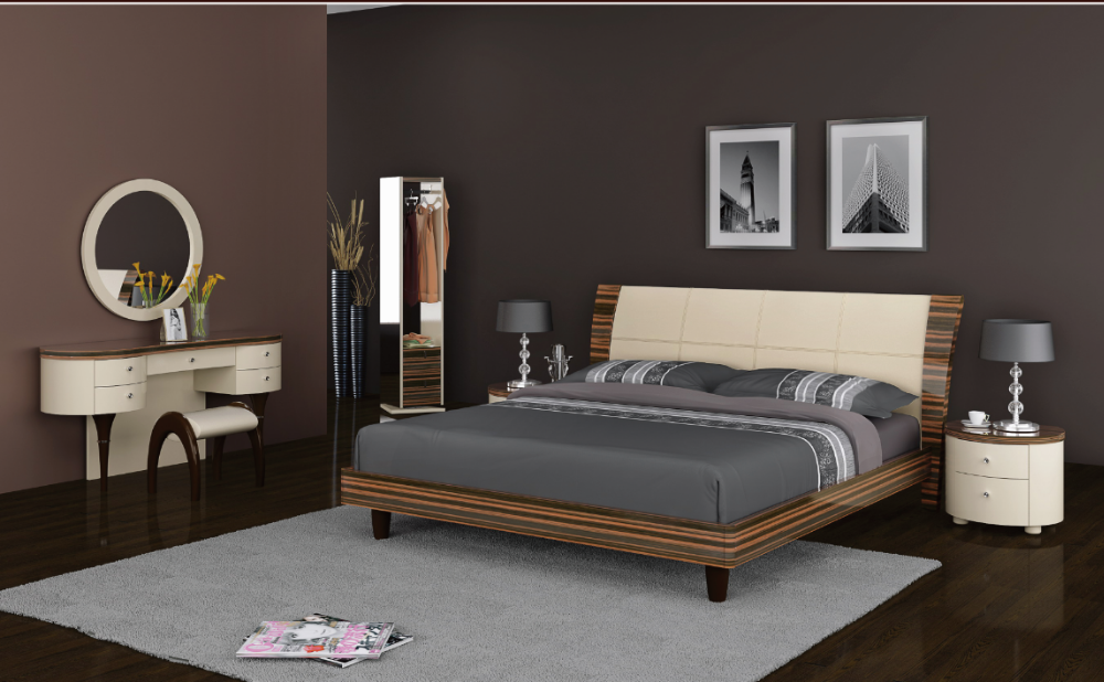 Luxury Neoclassical style bedroom set, bed, sidetable, dressing table and mirror