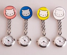 Cute Cat Pattern Girls Nurse Chain Watch 4 Colors Lovely Stainless Steel Nurse Pocket Watch