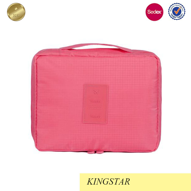 New portable 210D ripstop pink cosmetic bag
