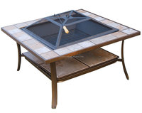 Square outdoor backyard patio mosaic fire pit table 36-inch