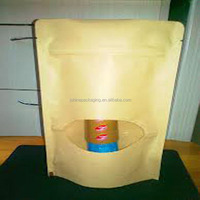 Heat seal custom stand up food grade paper bag zip lock window