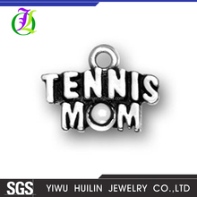 CN186507 Yiwu Huilin jewelry New design Wholesale Single Side Tibetan Silver Engraved Alphabet Tennis MOM Charms For Bracelet