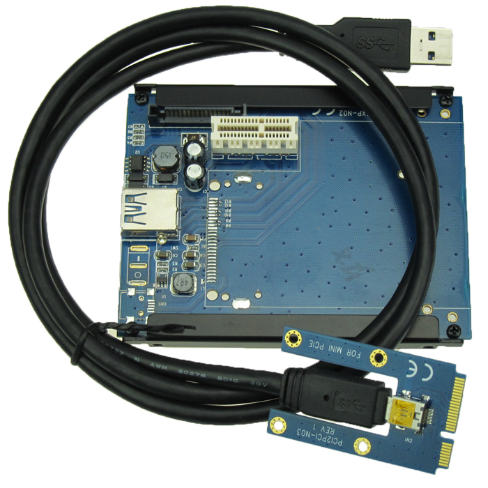 Laptop Mini PCIe to PCIe x1 Adapter support PCI-e X1 X4 X8 X16 converter card