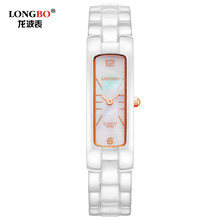 LONGBO 6085 Nobility Womans Bracelet Watch Simulated-ceramics White Strap Rose Gold Case Waterproof Women Lady Watch