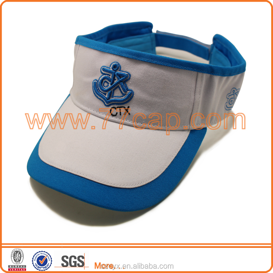 2016 Custom 3D Raised Embroidery 100% Cotton Sun Visor Caps Fashion Design Cotton Visor