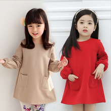 2018 Latest Model Baby Clothes Beautiful Cotton Kids Dress Long Sleeve Little Girls Winter Formal Dresses