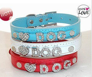 Plain PU leather fashion pet collar with rhinstones letter slider